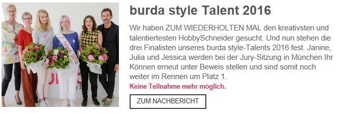 2. Platz Burda Style Talent Nähwettbewerb 2016 - Finale