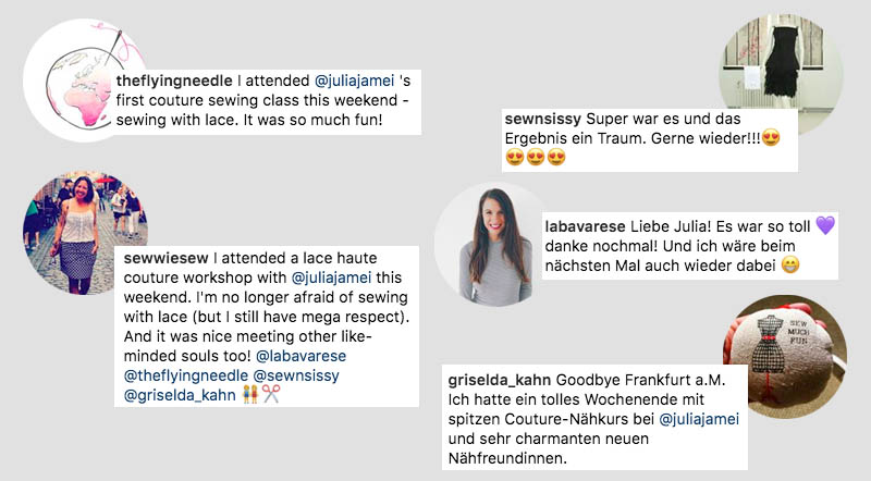 Das sagen die Teilnehmerinnen über den ersten Haute Couture Nähkurs mit Julia Jamei